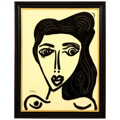 """Painting by Peter Keil, Midcentury, Black and White, circa 1976, """"The Beauty"""""""
