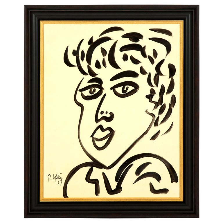 Painting by Peter Keil, Midcentury, Black and White, Modern Art For Sale