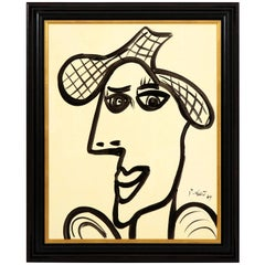 Painting by Peter Keil, Midcentury, Black and White, Modern Art, Lady with a Hat