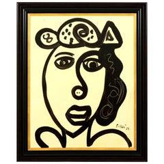 Painting by Peter Keil, Midcentury Modern Art, Black & White Colors, C 1967, Art
