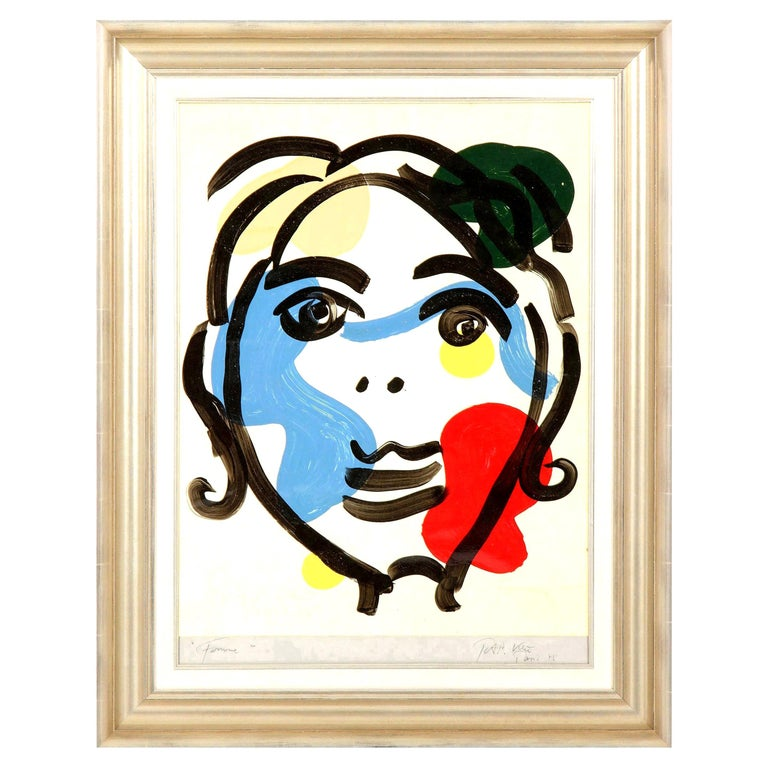 Painting by Peter Keil, Red, Blue and White, Mid-Century Modern Art, C 1975, Art For Sale