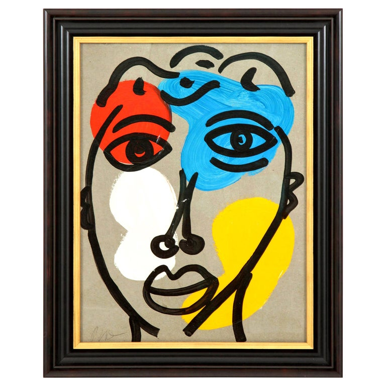 Painting by Peter Robert Keil, Midcentury Art, Red, Blue, Yellow, Modern, C 1970 For Sale