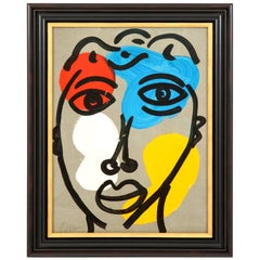Painting by Peter Robert Keil, Midcentury, circa 1970, Red, Blue, Yellow, Face