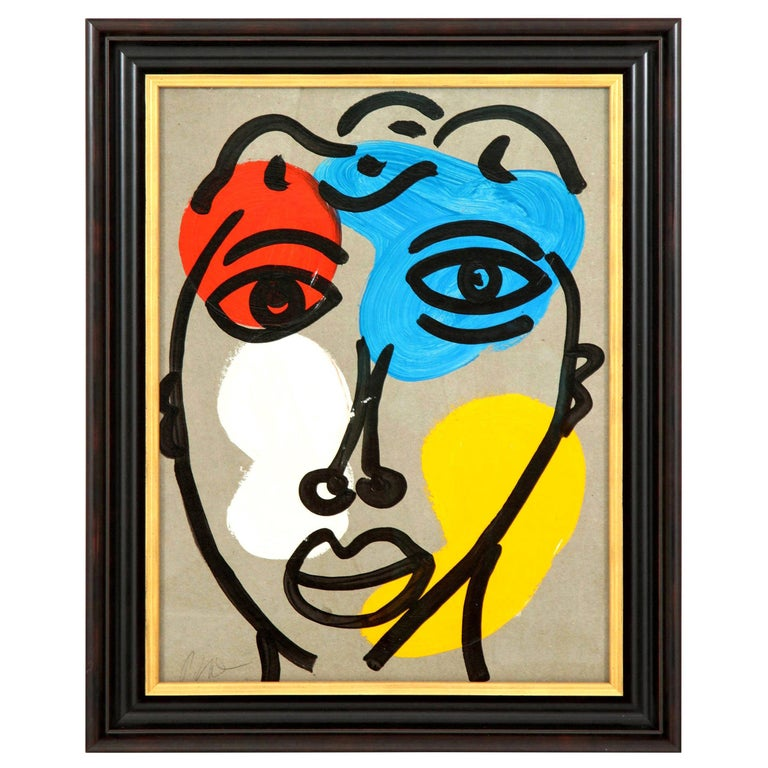 Painting by Peter Robert Keil, Midcentury Modern Art, Red, Blue, Yellow