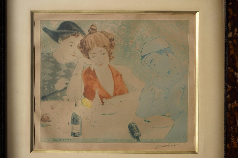 Jeune Femme et Costumes des Pierrots, Junge Frau mit Harlekin und pierrot, circa 1900. Richard Ranft. Painter of landscapes, engraver, illustrator and poster artist. (Swiss 1862-1931.) ? He started by studying in Geneva, where he was a student of