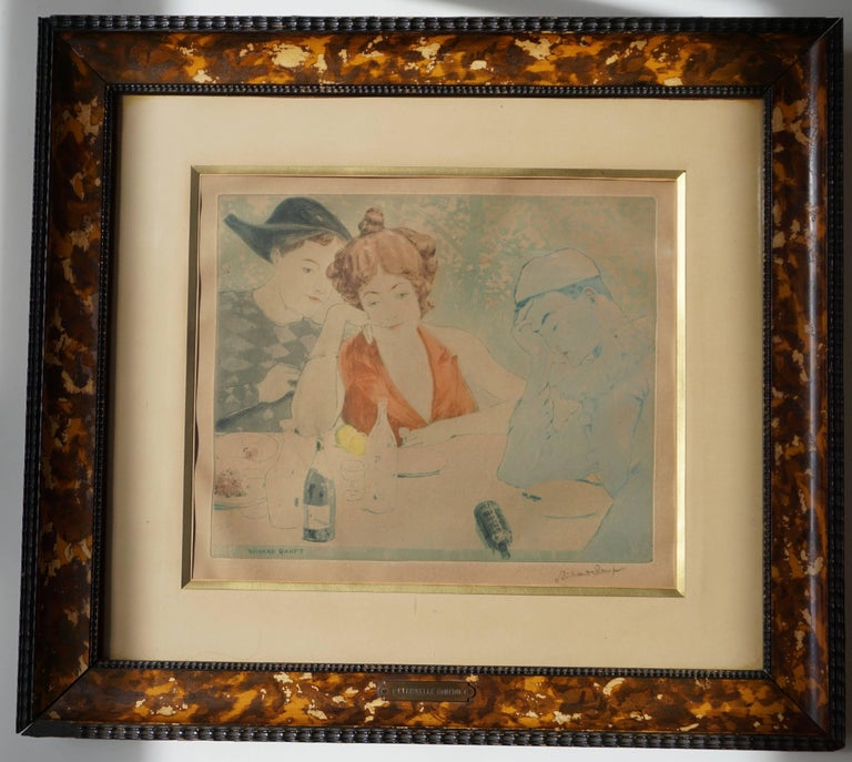 Swiss Painting by Richard Ranft, Young Woman and Pierrots Costumes For Sale