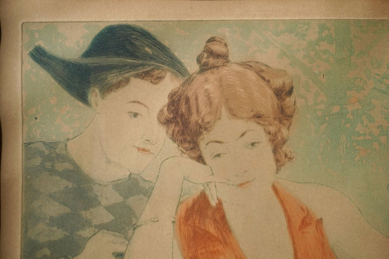 Painting by Richard Ranft, Young Woman and Pierrots Costumes In Good Condition For Sale In Antwerp, BE