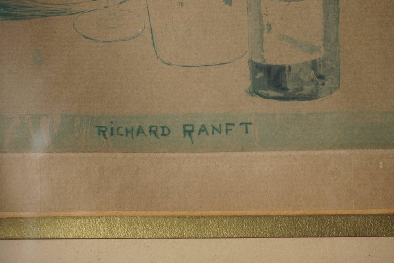Glass Painting by Richard Ranft, Young Woman and Pierrots Costumes For Sale