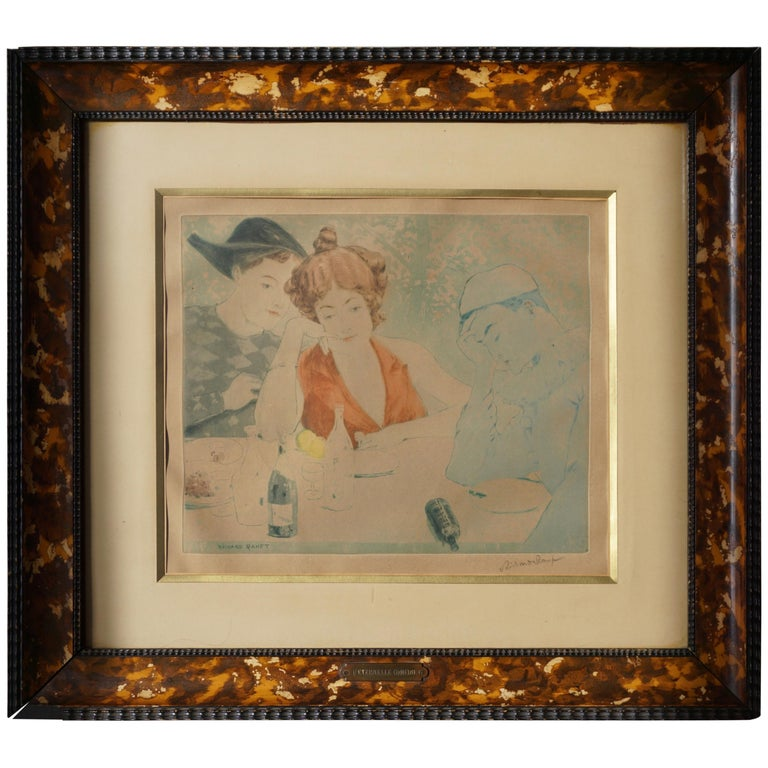 Painting by Richard Ranft, Young Woman and Pierrots Costumes For Sale