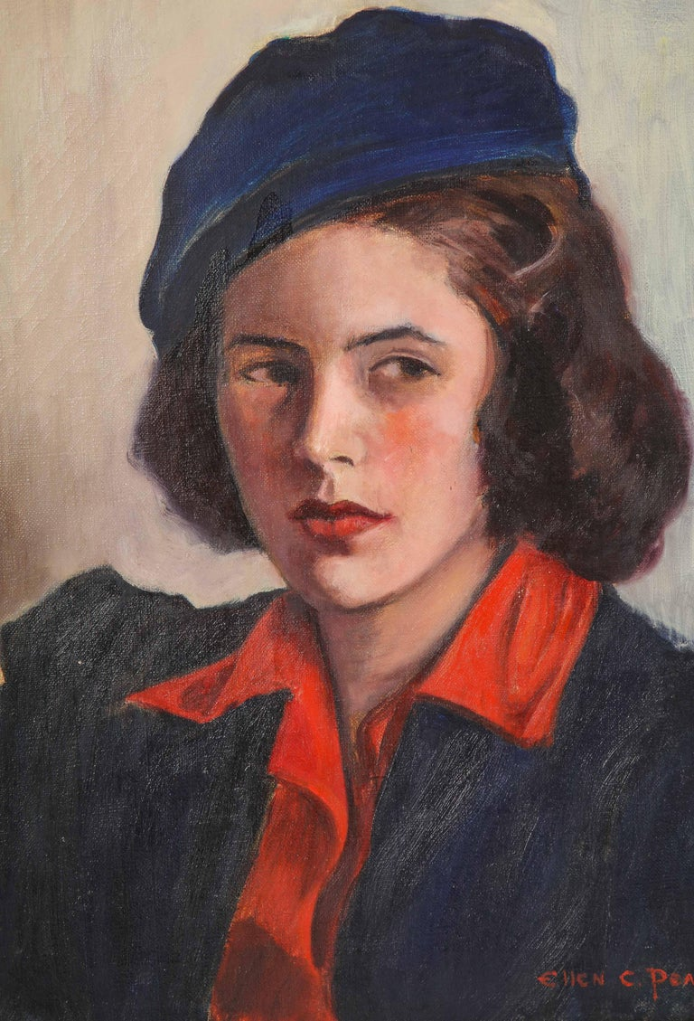Decorative painting of a young woman. Painted by Ellen C. Pearson, circa 1950.