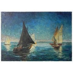 Painting Charles Melikoff, Sailing Boats
