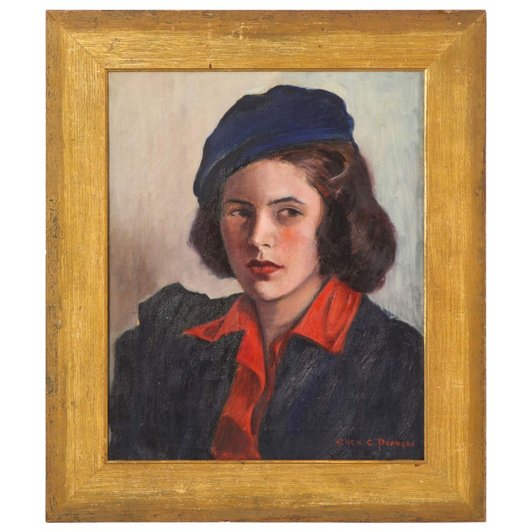 """Painting, circa 1950, """"Young Lady"""" by Ellen C. Pearson"""