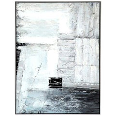 Painting, Contemporary Art, Grey, Black and White, Modern Art, Floating Frame