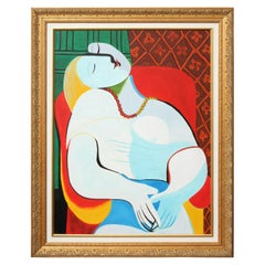 """Painting, Copy by Picasso, """"The Dream"""" with a Gold Frame"""