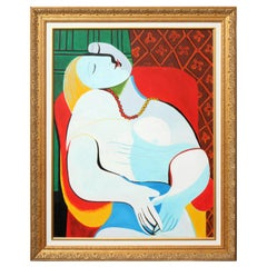 "Painting, Copy by Picasso, ""The Dream"" with a Gold Frame, Modern Art"