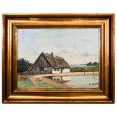 "Painting ""Cottage"", Denmark, Early 20th Century"