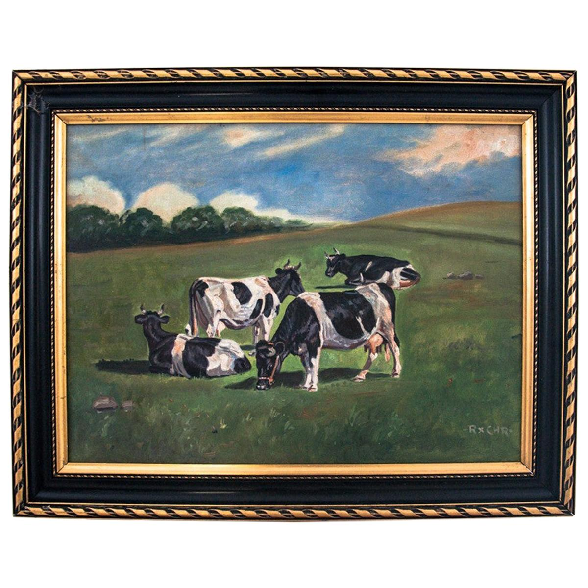 """Painting """"Cows in the field"""""""