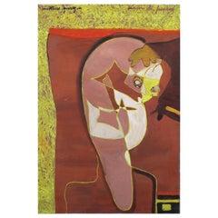 """Painting """"Croquis de femme"""" by Pierre Courtens, 1921-2004"""
