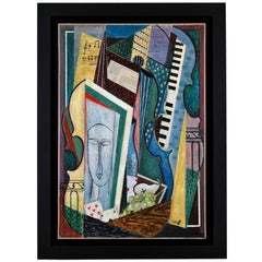 Painting Cubist Composition Modigliani Face and Instruments Petroff