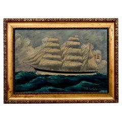 "Painting ""Danish Sailing Ship"", Denmark, Early 20th Century"