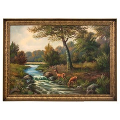 """Painting """"Deer on the River"""""""