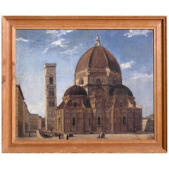 Painting, Duomo in Firenze, Signed P.K, 19th Century