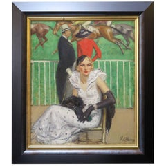 "Painting ""Elegant Courses"" by Pierre de Belair, France circa 1920s-1930s"