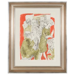 Painting from 1950s, Red, Green and White, Modern Art