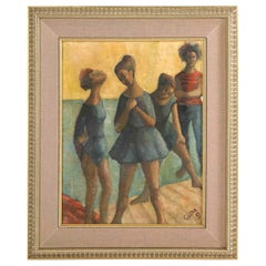 "Painting from 1969, Signed Gunter, "" Dancers"", Green, Blue and Taupe Colors"