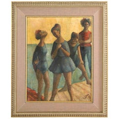 """Painting, Mid-Century, Signed Gunter, """"Dancers"""", Turquoise, Yellow & Green"""