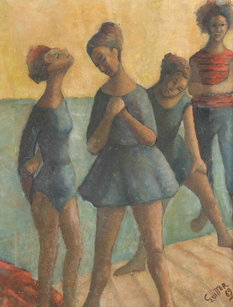Decorative painting, signed Gunter, 1969. Four young ladies dancing or bathing by the sea.
