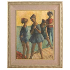 Painting from 1969, Signed Gunter, Green, Blue and Taupe Colors, Beach Motif