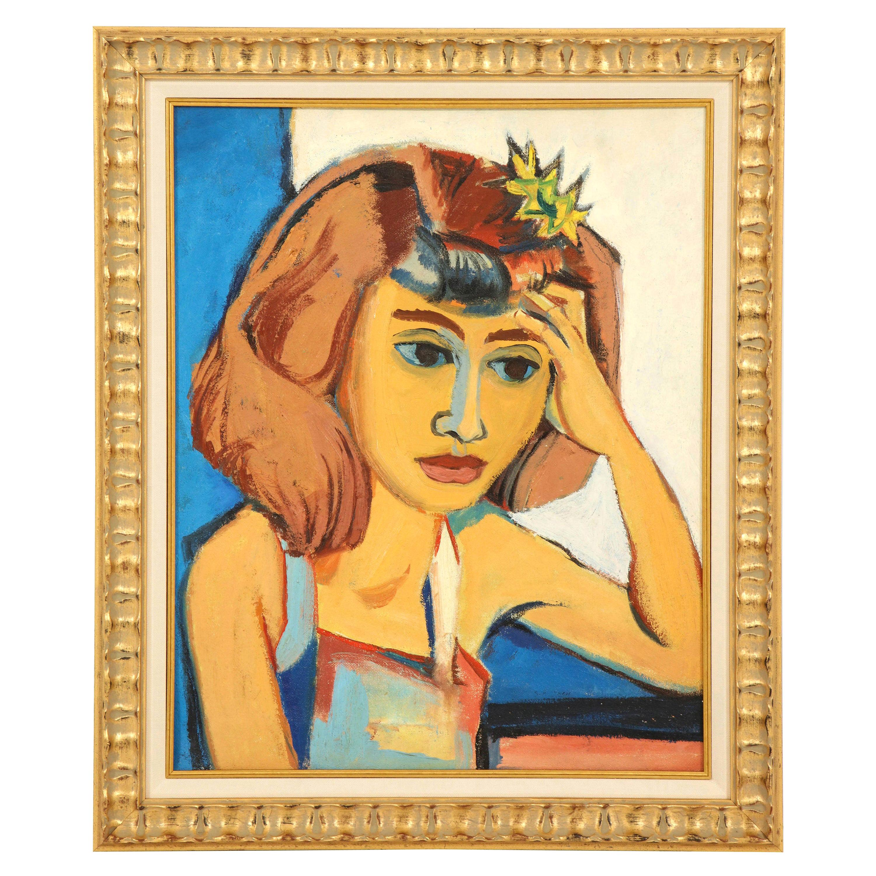 Painting from the 1940s, Midcentury Art, Golden, Blue, Chocolate & White