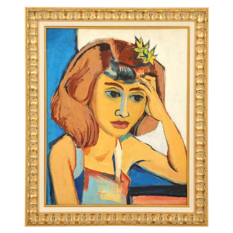 Painting from the 1940s, Midcentury Art, Golden, Blue, Chocolate & White For Sale