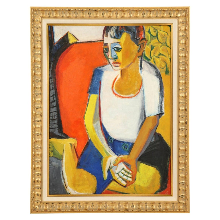 Painting from the 1940s, Midcentury Art, New Frame, Red, Blue, Yellow & White For Sale
