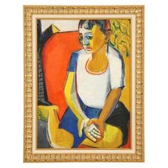 Painting from the 1940s, Midcentury, Red, Blue, Yellow and White, New Framing