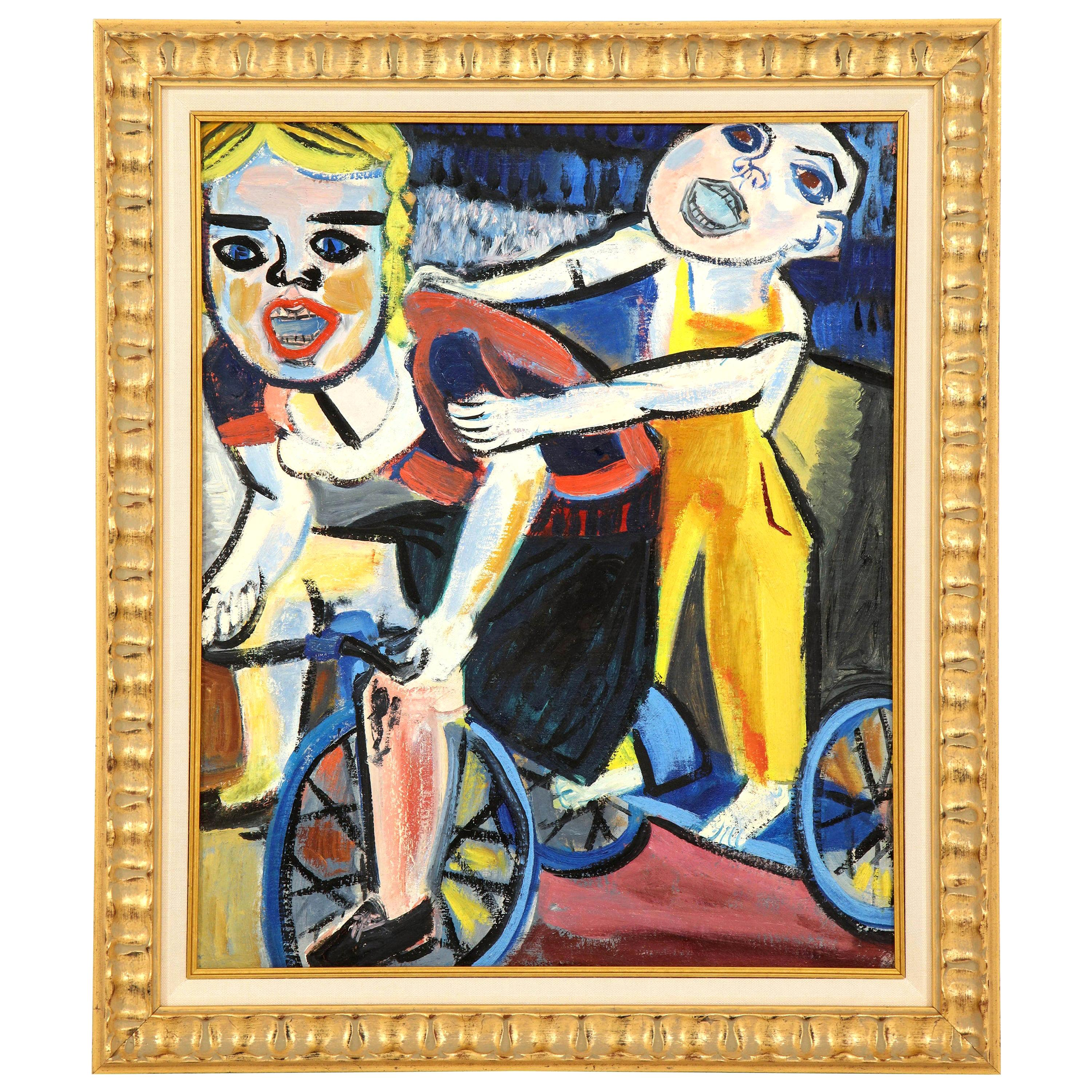 Painting from the 1940s, Red, Blue and Yellow, Mid-Century Art, New Framing