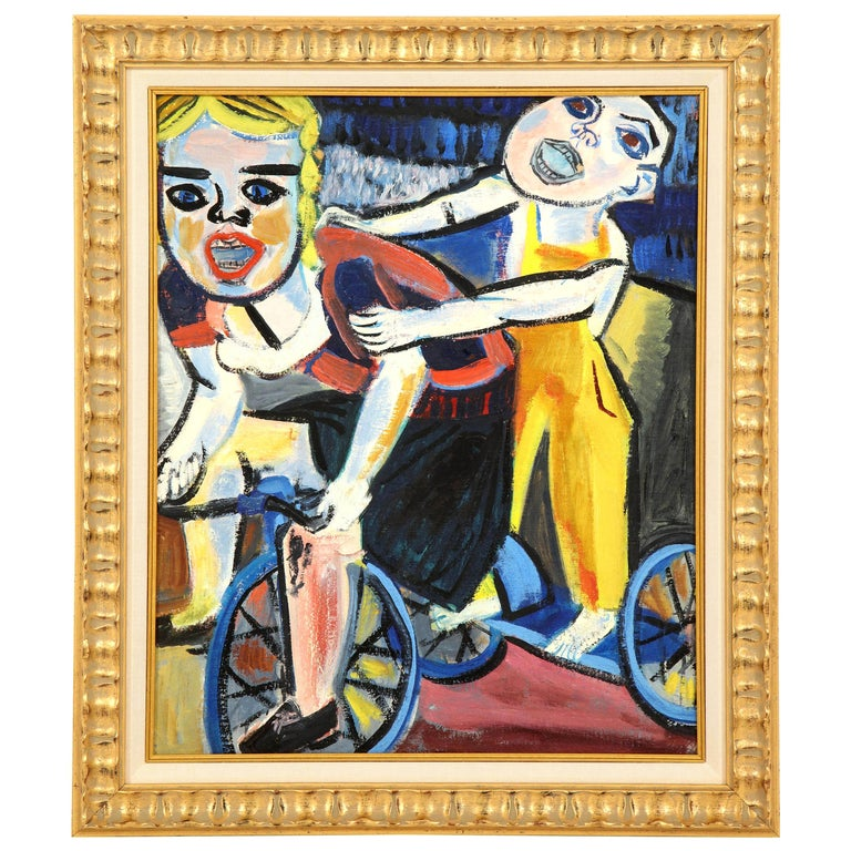 Painting from the 1940s, Red, Blue and Yellow, Mid-Century Art, New Framing For Sale