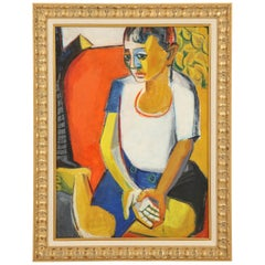Painting from the 1940s, Sitting Lady, Red, Blue, Yellow and White
