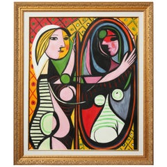 "Painting, ""Girl Before a Mirror"", Copy of Picasso, Gold Frame, Modern Art"