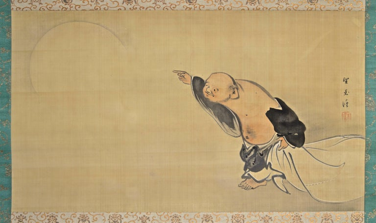 Mochizuki Gyokkei, fifth heir of the Gyokusen painting tradition (also just known as 'Kyoto school'), did not only excel in the natural rendition of flowers and animals but in figure paintig as well - as this Fine example shows. In an unusal