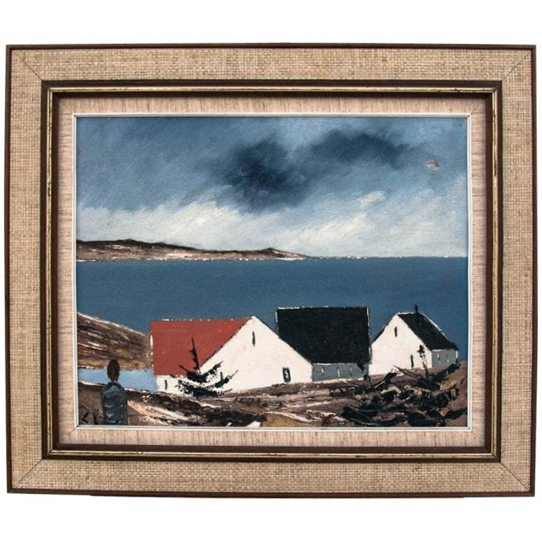 """Painting """"Houses by the sea""""."""