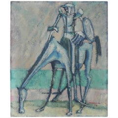 Painting Knight on Horse Don Quichot, A. Mendola