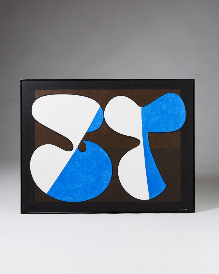 Painting 'Komposition III' by Tore Nyberg, Sweden, 1960s. Oil on canvas.  Measures: H 89 cm/ 2' 11 1/4