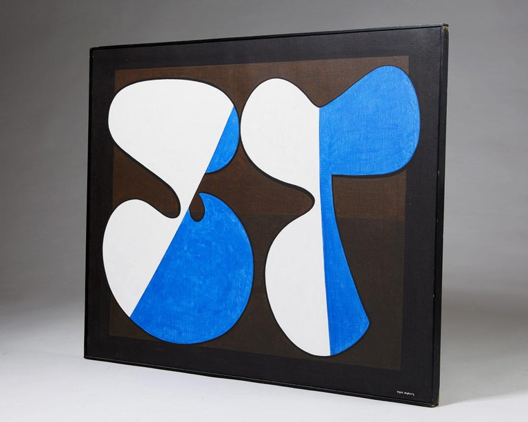 Scandinavian Modern Painting 'Komposition III' by Tore Nyberg, Sweden, 1960s For Sale