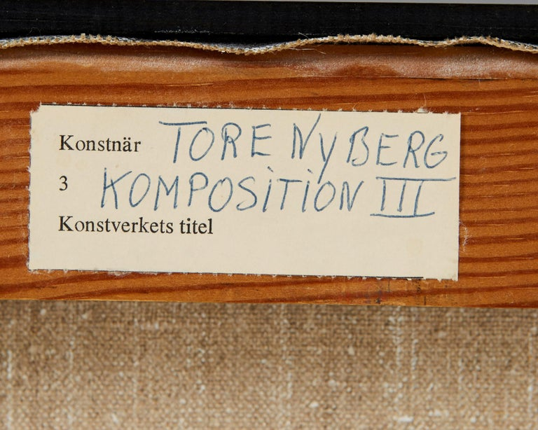Mid-20th Century Painting 'Komposition III' by Tore Nyberg, Sweden, 1960s For Sale