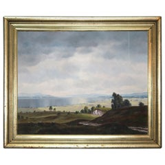 Painting, Landscape Oil on Canvas, Manner of Hudson River School, circa 1930