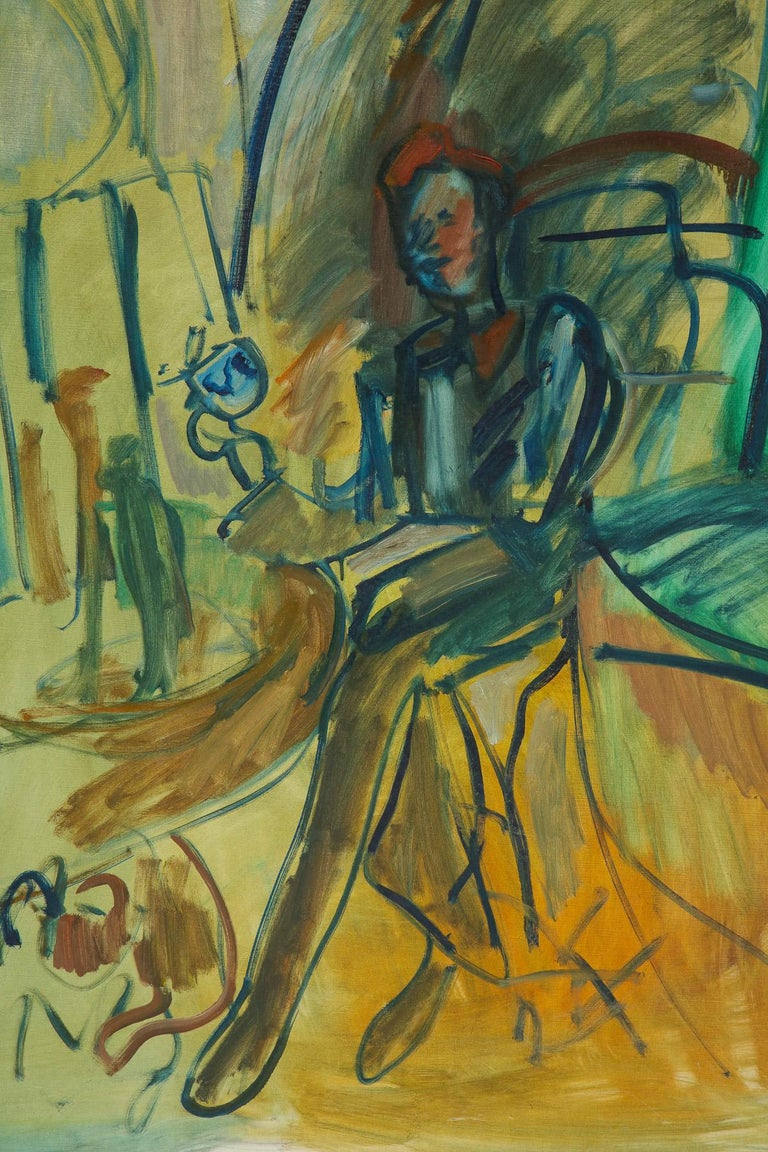 Large green painting with a sitting person, circa 1960.