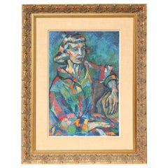 Painting, Midcentury Portrait of a Lady, circa 1950, Modern Art