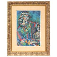 Painting, Midcentury Portrait of a Lady, circa 1950, Modern Art